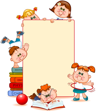Illustration pour Frame with school children and school supplies. Space for text. Vector illustration - image libre de droit