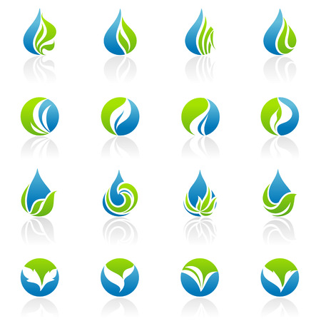 Leaves. Vector logo template set. Elements for design.
