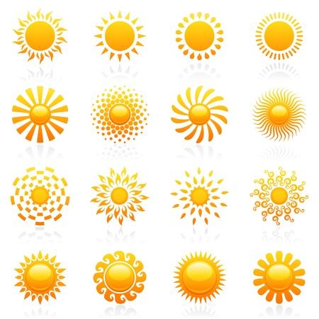 Sun. Elements for design. Vector logo template set. Icon set.