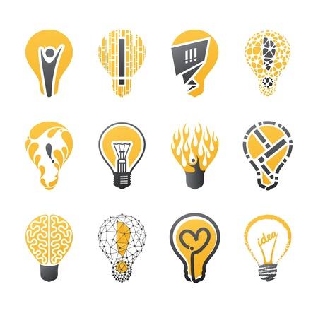 Light bulb idea. Vector logo template set. Collection of design elements. Icons set.