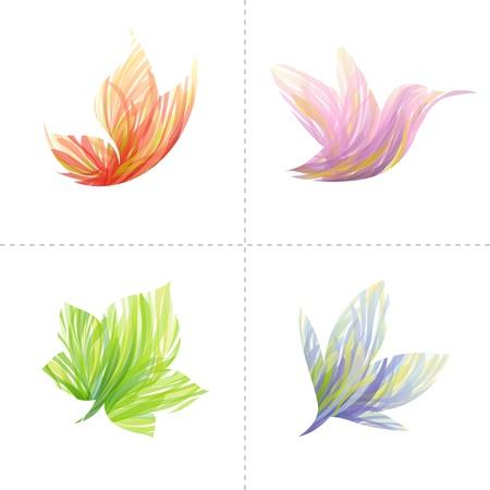 Illustration pour Collection of colorful design elements: butterfly, hummingbird, leaf, flower. Vector illustration. - image libre de droit