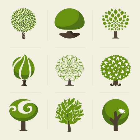 Ilustración de Tree - Collection of design elements  - Imagen libre de derechos