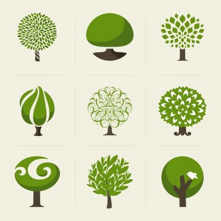 Illustration pour Tree - Collection of design elements  - image libre de droit