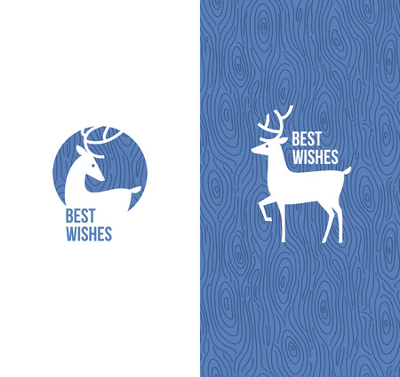 Deer on retro wooden background - Vector illustration