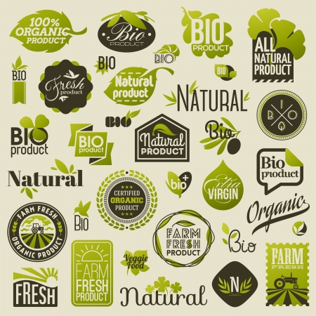 Illustration for Natural organic product labels, emblems and badges - Set of vector design elements - Royalty Free Image