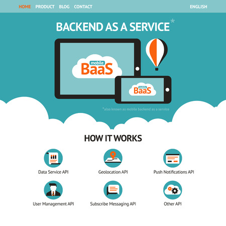 Illustration pour Flat vector website template with mobile gadgets displaying backend as a service  - image libre de droit