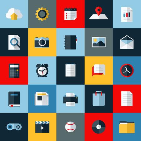 Ilustración de Modern flat vector icons set of universal elements for web and mobile - Imagen libre de derechos