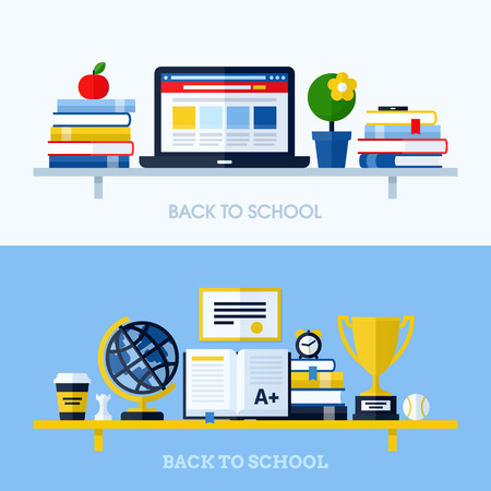 School flat design vector illustration with bookshelf and school supplies  Concepts for websites and printed materials