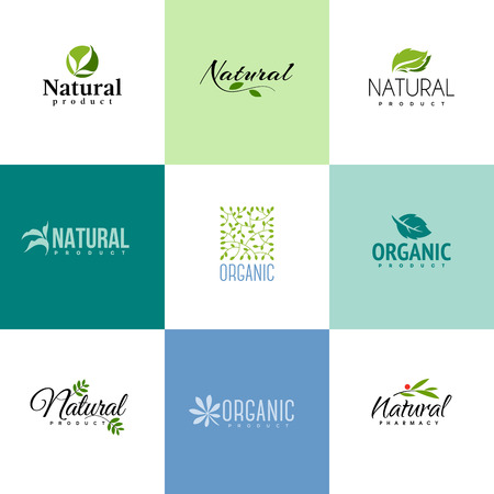 Illustration for Set of natural and organic products logo templates. Icons of leaves and branches - Royalty Free Image