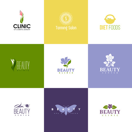 Illustration pour Set of beauty clinic logo templates. Icons of flowers and leaves - image libre de droit