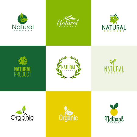 Illustration for Set of natural and organic products icon templates. Icons of leaves and branches - Royalty Free Image