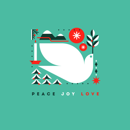 Illustration pour Stylish card with holiday greetings and symbols of Christmas - image libre de droit