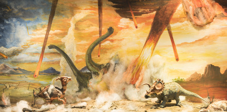 Photo pour Dinosaurs escaping or dying because of heat and fire due to a big meteorite crash - image libre de droit