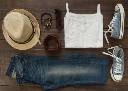 Photo for Outfit of casual woman. Top view of clothing and  accessory for women. - Royalty Free Image