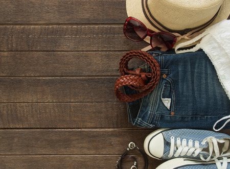 Photo pour Outfit of casual woman. Top view of clothing and  accessory for women. - image libre de droit