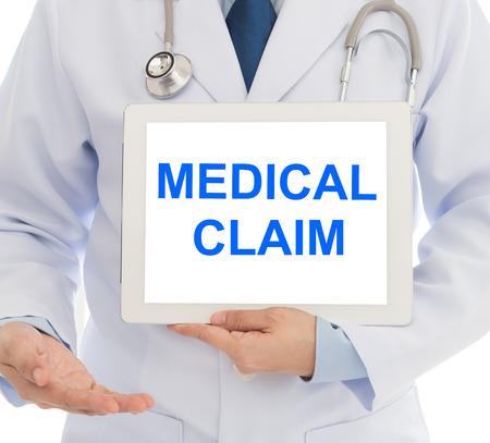 Photo pour medical claim concept. doctor with digital tablet computer showing medical claim words at hospital. - image libre de droit