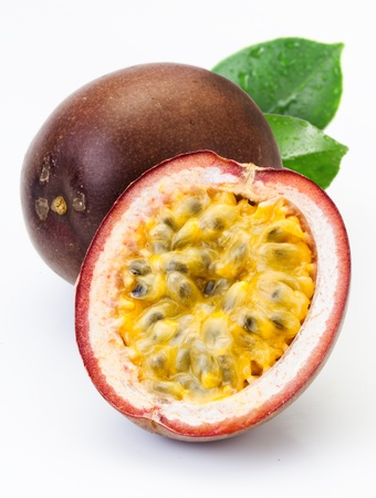 Passion fruit with leaves isolated on a white background