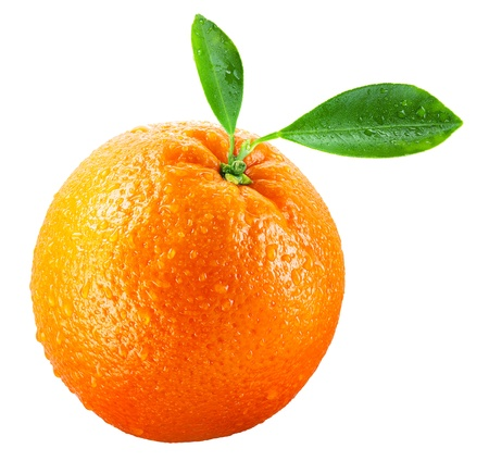 Photo pour Wet orange fruit with leaves isolated on white - image libre de droit
