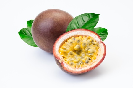 Passion fruit and a half on a white background
