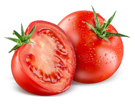 Photo pour Tomatoes. Whole and a half isolated on white - image libre de droit
