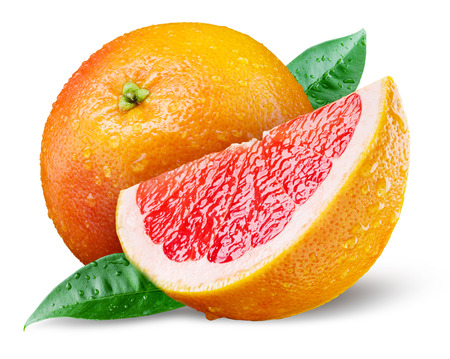 Photo pour Grapefruit with slice on white background - image libre de droit
