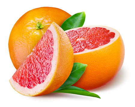 Photo for Grapefruit with a half and leaves on white background - Royalty Free Image