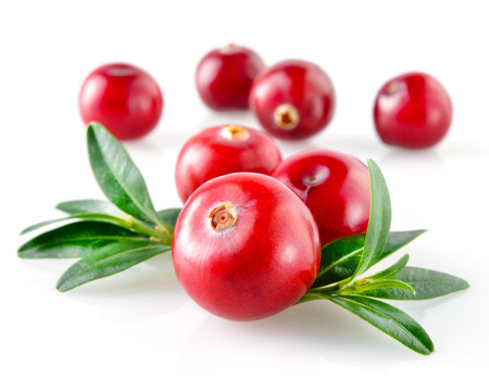 Photo for Cranberry with leaves isolated on white  - Royalty Free Image