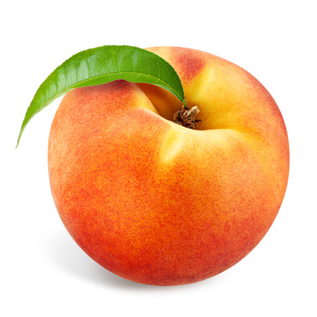 Photo for Peach with leaf isolated on white - Royalty Free Image