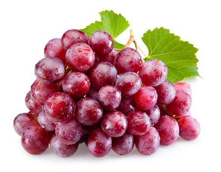 Photo for Ripe red grapes with leaves isolated - Royalty Free Image