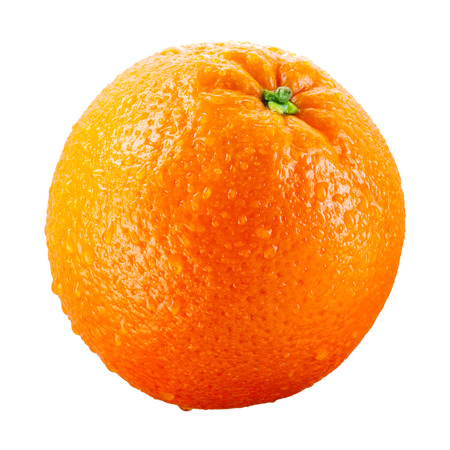 Photo for Orange fruit with drops isolated on white background - Royalty Free Image