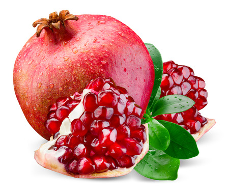 Photo pour Juicy pomegranate and its piece with leaves. Isolated on a white background. - image libre de droit