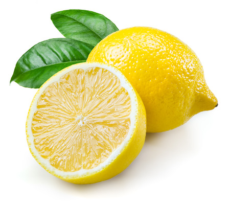Foto de Lemon. Fruits with leaves isolated on white - Imagen libre de derechos