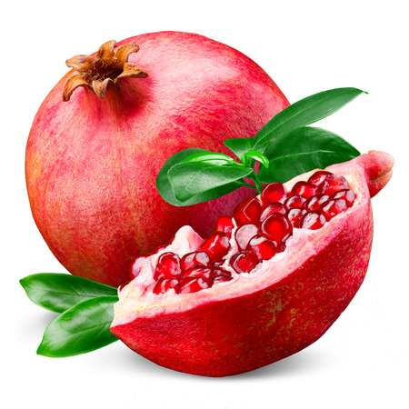 Photo pour Ripe pomegranate with leaves isolated on a white background - image libre de droit