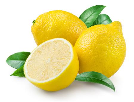 Foto de Lemon. Fruit with leaves on a white background. - Imagen libre de derechos