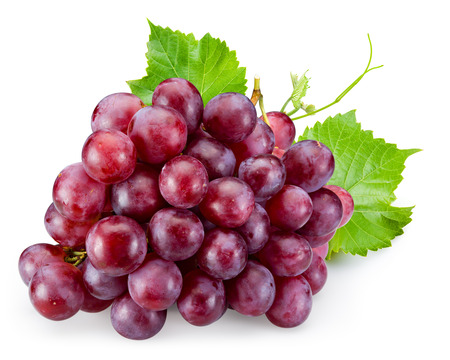 Foto per Ripe red grape with leaves isolated on white - Immagine Royalty Free