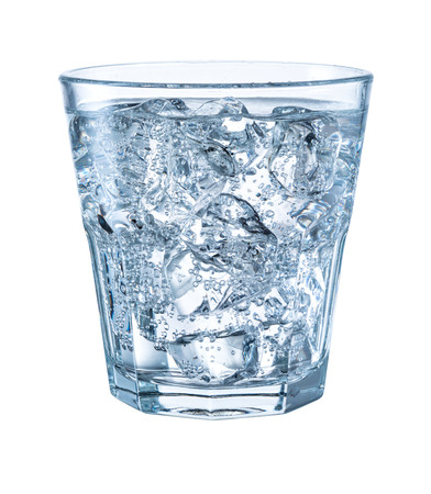 Foto de Glass of mineral carbonated water with ice. With clipping path - Imagen libre de derechos