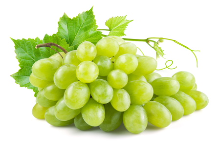 Photo for Green grapes with leaves. Isolated on white - Royalty Free Image