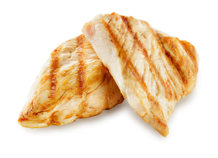 Photo pour Prepared chicken meat. Breast fillet slices isolated. With clipping path. - image libre de droit