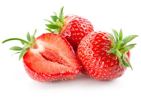 Foto de Strawberry with a half isolated on white - Imagen libre de derechos