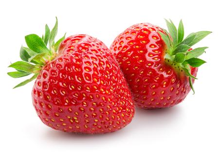 Foto de Two strawberries close up on white background - Imagen libre de derechos