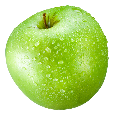 Photo for Green apple with drops Isolated on a white background - Royalty Free Image
