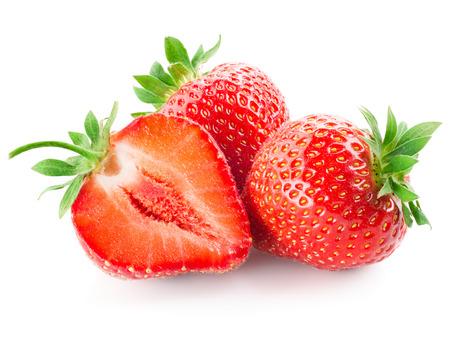 Foto de Fresh strawberry isolated on white - Imagen libre de derechos