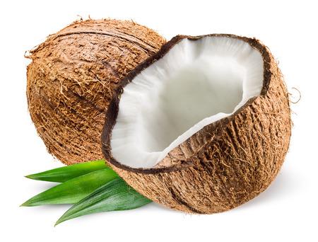 Photo pour Coconut with leaf on white background - image libre de droit