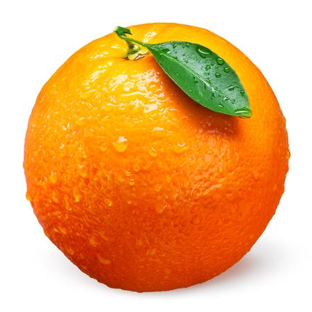 Photo for Fresh orange fruit with drops isolated on white - Royalty Free Image