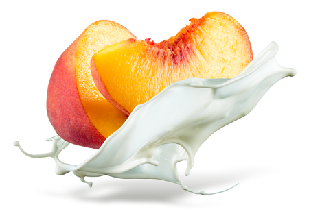 Photo for Peach is falling into milk. Splash isolated on white background - Royalty Free Image