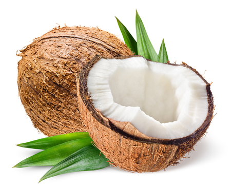 Photo for Coconut with half and leaves on white background - Royalty Free Image