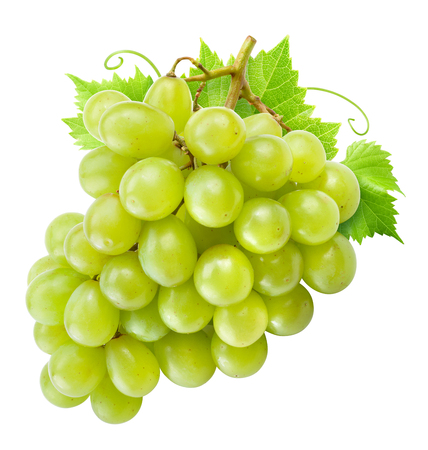 Photo for Grape isolated. Green grapes with leaves on white. - Royalty Free Image