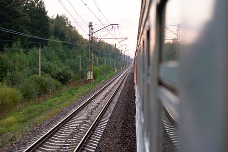 Foto per Electric train. Far railway track. Rails going into the distance. - Immagine Royalty Free