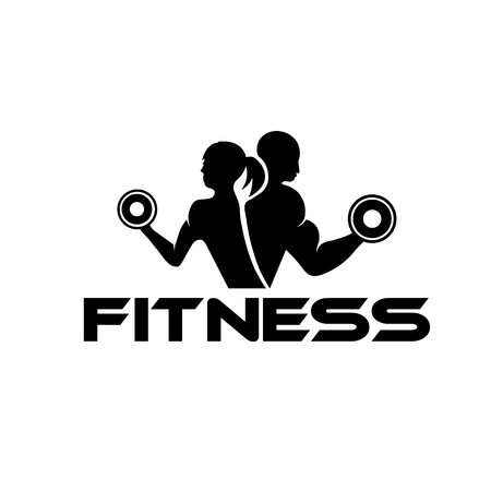 Photo for man and woman of fitness silhouette character  - Royalty Free Image
