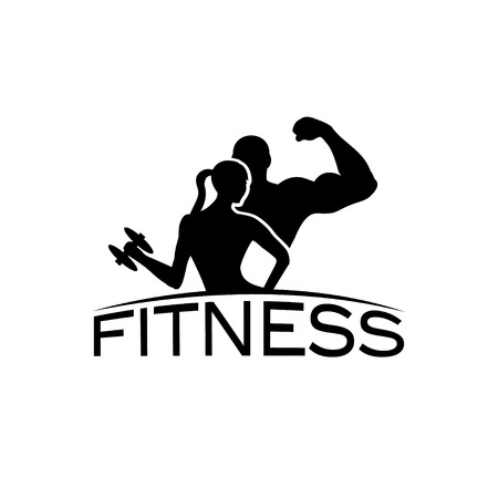 Foto de man and woman of fitness silhouette character vector design template - Imagen libre de derechos